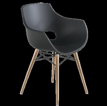 Кресло Papatya Opal-Wox матовое антрацит, рама натуральный бук