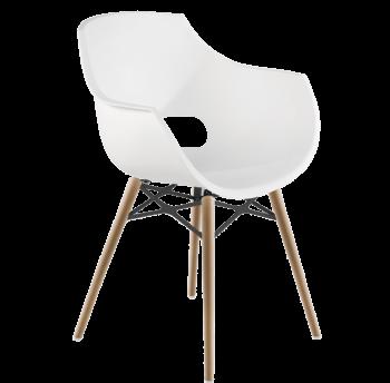 Крісло Papatya Opal-Wox матове біле, рама натуральний бук