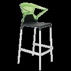 Барное кресло Papatya Ego-K черное сиденье, верх прозрачно-зеленый