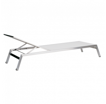 Шезлонг Papatya Zen белая ткань (сталь)