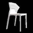 Стілець Papatya Ego-S біле сидіння, верх прозоро-чистий